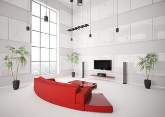 Weisses Wohnzimmer interior 3d