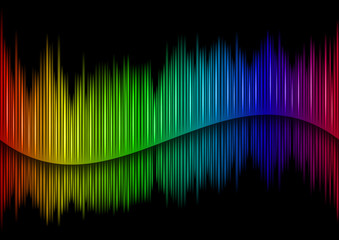 Colorful Sound waveform (editable vector) on black