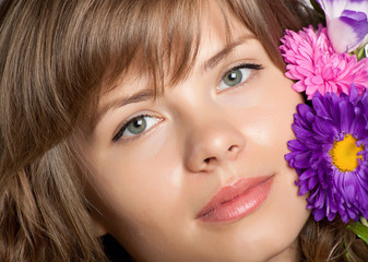 Beautiful face with flower on it