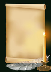 vector illustration with old paper and candle