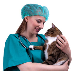 female vet in protective uniform with cat in surgery