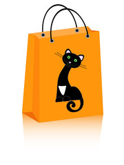 vector Halloween shopping bag with cute black cat