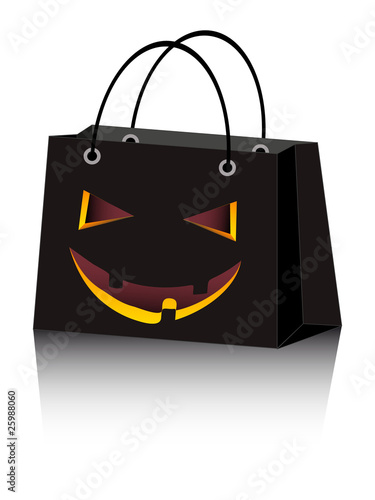 vector Halloween shopping bag with scary face