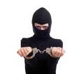 handcuffed female thief in black balaclava