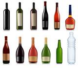 Fototapety Set of different bottles. Vector illustration.