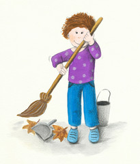 Boy cleans leaves