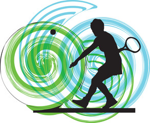 Tennis players illustration.