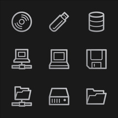 Drives and storage web icons, grey mobile style