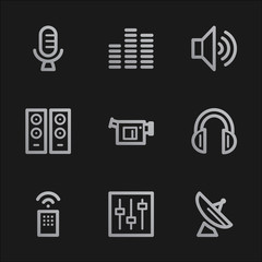 Media web icons, grey mobile style