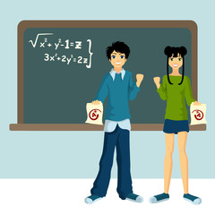 two students with blackboard