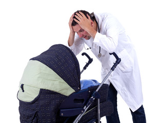 terrified doctor looking to baby stroller