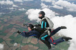 Closeup of skydivers in freefall