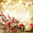 Christmas decoration on defocused lights background