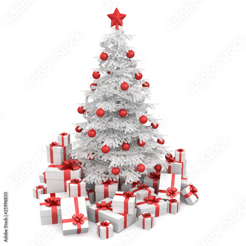white and red isoloated christmas tree