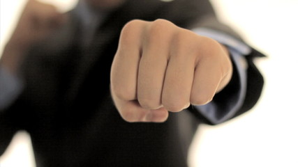 Businessman Punching with Fist