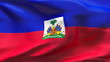 Creased HAITI flag in wind in slow motion
