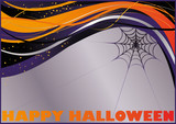 Halloween card with spider web. vector