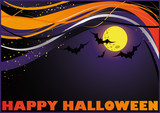 Halloween card with moon and bats. vector