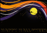 Halloween card with moon and witch. vector