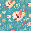 Decorative texture with autumn trees and birds in love