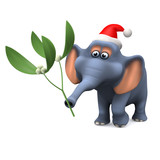 3d Elephant holding some mistletoe