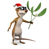 3d Ratty holds the mistletoe