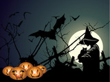 Halloween background with witch and pumpkin