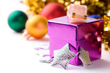 beautiful magenta gift box on christmas background isolated