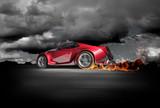 Fototapety Sports car burnout. Original car design.