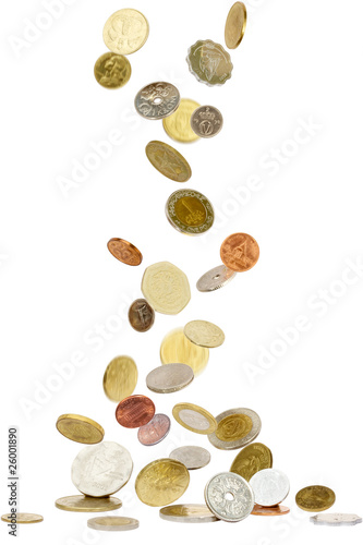 Coins from all over the world falling to the ground