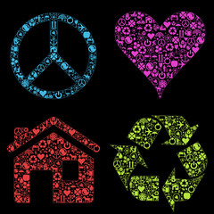 Eco signs made with different icons vector set