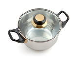 Metallic pan with lid