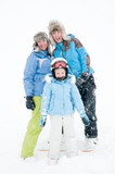 Happy family on winter vacation poster
