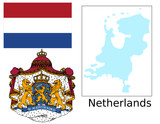 Netherlands flag national emblem map