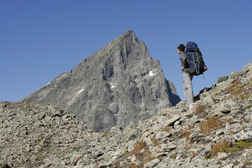Alpinist in mountains