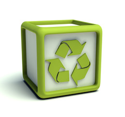 Eco recycling symbol cube