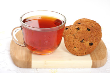Cup of hot tea and cookies,