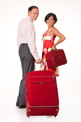 Woman And Man With Suitcase