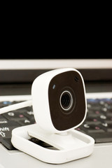 web camera and Laptop isolated on white background