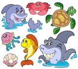 Set of marine animals poster