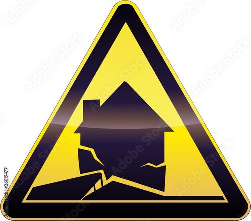Yellow Earthquake Warning Symbol