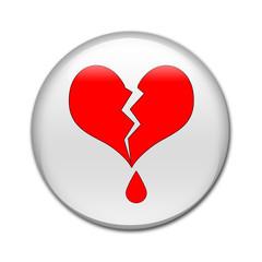 Boton brillante corazon roto