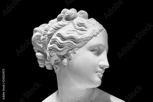 Leinwandbild Motiv Classic white bust of Greek goddess isolated on black