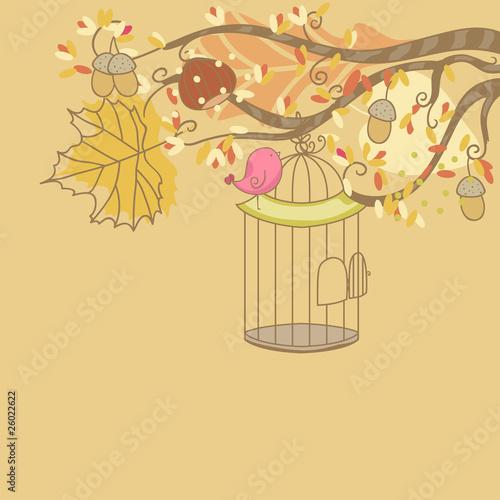 autumn card with bird and birdcage