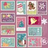 Fototapety winter postage set