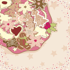 christmas cookies in pink tone