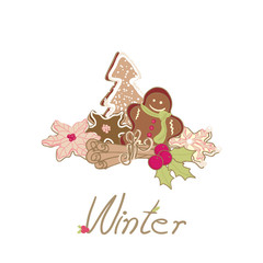 winter card with cookies
