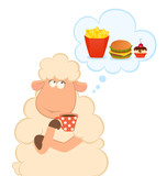 sheep has coffee from a cup dream about harmful fast food poster