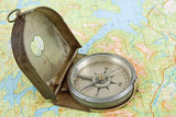 compass on topographical map