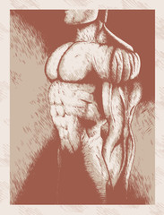 Sketch of a muscular man on a water colour paper.